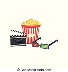 Cinema set, popcorn, clapper board and 3d glasses vector Illustration on a white background