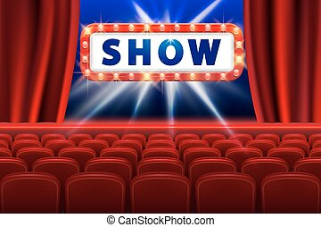 Cinema show design with lights scene and red seats. Poster for concert, party, theater. Theater Poster Template with Lights. vector illustration