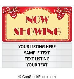 """Image of a cinema """"Now Showing"""" sign isolated on a white background with sample text. Text must be edited with an image editing program."""
