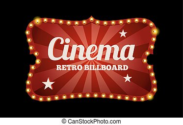 Cinema sign or billboard in retro style surrounded by neon lights on a dark background with text space