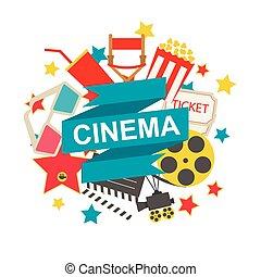 Cinema sign with cinema icons set