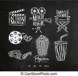 Cinema signs chalk - Cinema signs clapperboard, movie...