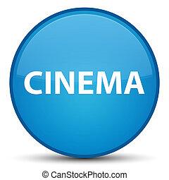 Cinema special cyan blue round button