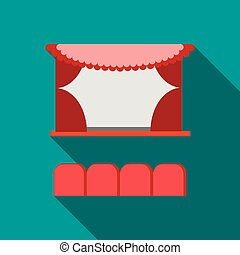 Cinema stage with red curtains icon, flat style