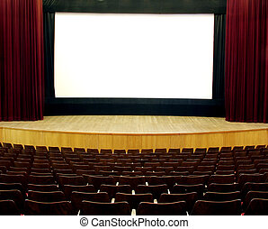 cinema, wooden seats and stage, red velvet curtain, white...