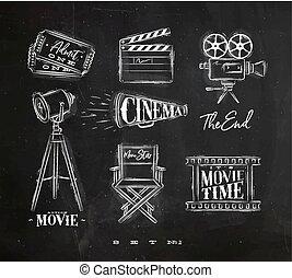 Cinema symbols chalk