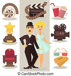 Cinema symbols in retro style. - Set of cinema symbols and...
