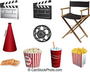 Cinema symbols vector set isolated on white