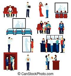 cinema, teatro filme, apartamento, ícones, jogo