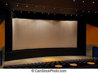 cinema, teatro filme, com, cortinas