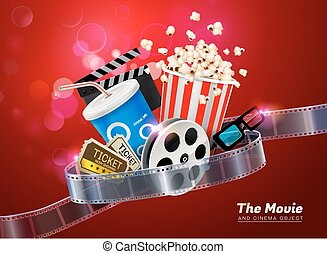 cinema, teatro filme, objeto, ligado, cintilante, luz, fundo
