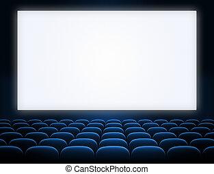cinema, tela, com, abertos, azul, assentos