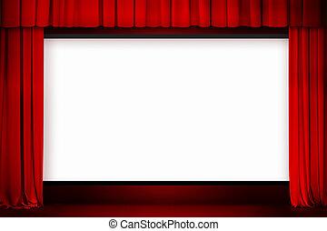 cinema, tela, com, abertos, cortina vermelha