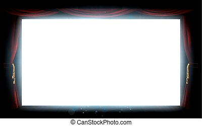 cinema, tela, e, cortinas