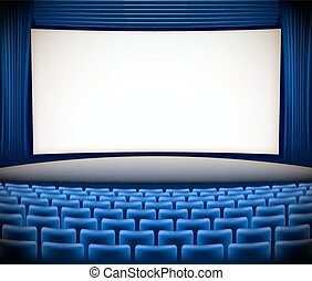 cinema theater background with blue seats and blue curtains