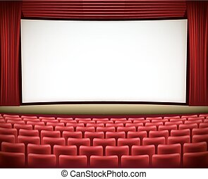 cinema theater background with red seats and red curtains