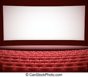cinema theater background with red seats, space for text. vector