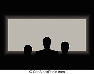 Cinema, theater light from the screen. Shadows of people on the background screen. The view from the back row of the cinema. Vector illustration.