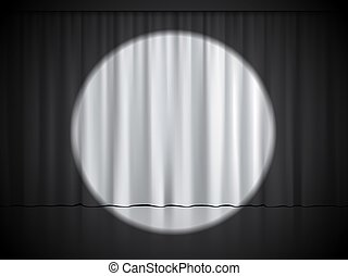 Cinema, theater or circus stage with spotlight on white curtains. Vector background.