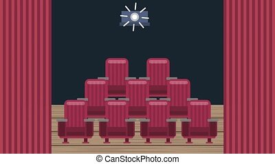 cinema theater related - cinema auditorium with screen and...