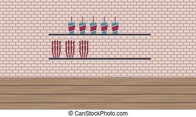 cinema food store bar counter popcorn soda and nachos