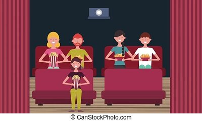 cinema theater people sitting on sofa with food
