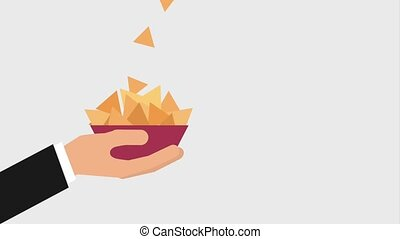 cinema theater related - nachos food falling on bowl in hand