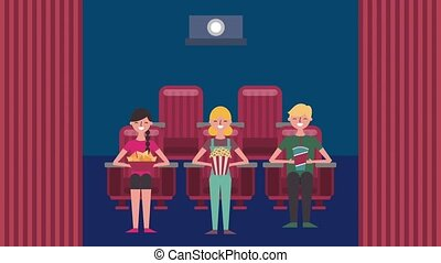 cinema theater related - people with food in cinema...