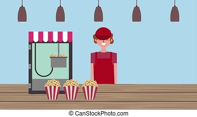 seller man in counter machine popcorn cinema food store