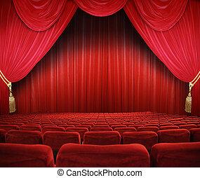 Cinema Theatre - classic cinema with red seats