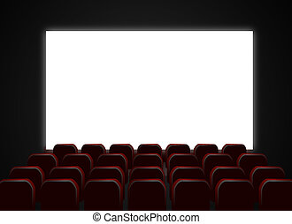 Cinema theatre screen and chairs - Illustration of cinema or...