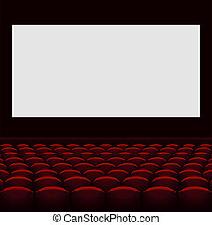 Cinema theatre with screen and seats.