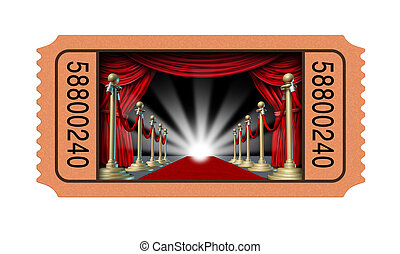 Cinema ticket and movie stub with an open window into a theater on a red carpet and velvet curtains with brass partitions leading to a glowing spot light as an entertainment concept isolated on a white background.