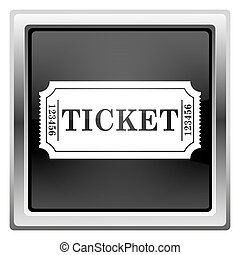 Cinema ticket icon - Black shiny glossy icon on white...