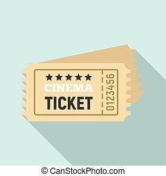 Cinema ticket icon, flat style