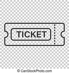 Cinema ticket icon in flat style. Admit one coupon entrance vector illustration on isolated background. Ticket business concept.