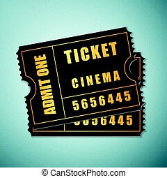 Cinema ticket icon isolated on blue background. Vector Illustration