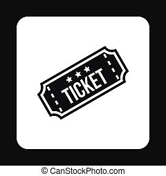 Cinema ticket icon, simple style
