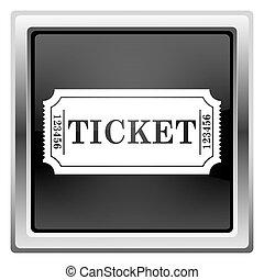 Cinema ticket icon - Black shiny glossy icon on white...
