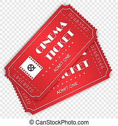 Cinema ticket isolated . Template for your design