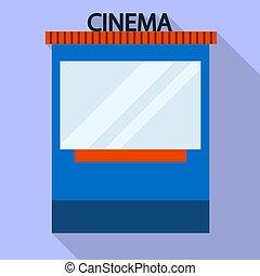 Cinema ticket kiosk icon, flat style