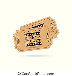 cinema ticket old set illustration