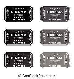 cinema ticket set illustration