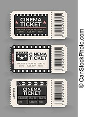 Cinema ticket set isolated on gray background. Vector illustration.