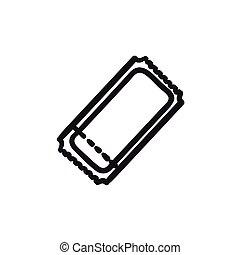 Cinema ticket sketch icon.
