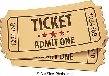 Cinema ticket. Vector illustration. Conceptual illustration. Isolated on white background