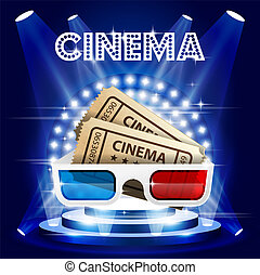 Cinema tickets and 3d glasses on stage in circle of lights - film premiere poster