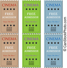 Cinema Tickets - Image of various cinema admission tickets.