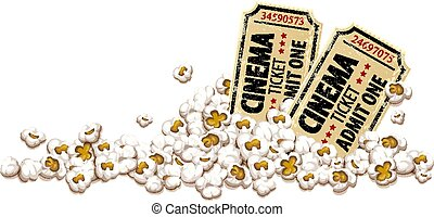 Cinema tickets for movie theater popcorn vector