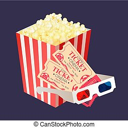 Cinema Tickets for Two, Popcorn Package Glasses